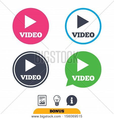 Play video sign icon. Player navigation symbol. Report document, information sign and light bulb icons. Vector
