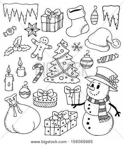 Christmas stylized drawings 3 - eps10 vector illustration.