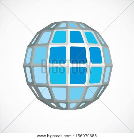 Blue Dimensional Vector Low Poly Object, Trigonometry Shape. Technology 3D Spherical Element Made Wi