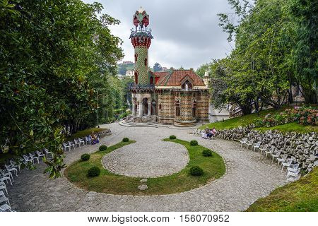 Comillas Spain - August 24 2016: La Villa Quijano popularly known as El Capricho is a modernist building located in the Cantabrian town of Comillas. It was designed by Antoni Gaudi