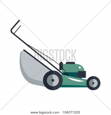 Lawn mower machine icon technology equipment tool, gardening grass-cutter - vector stock