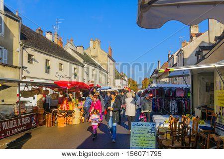 Market Scene In Beaune
