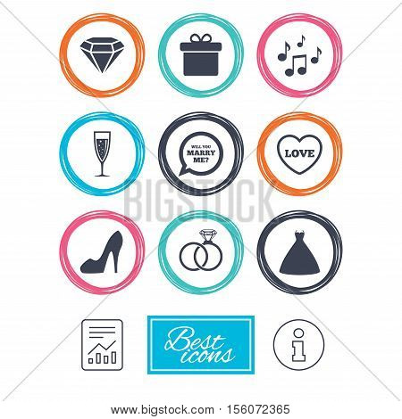 Wedding, engagement icons. Rings, gift box and brilliant signs. Dress, shoes and musical notes symbols. Report document, information icons. Vector