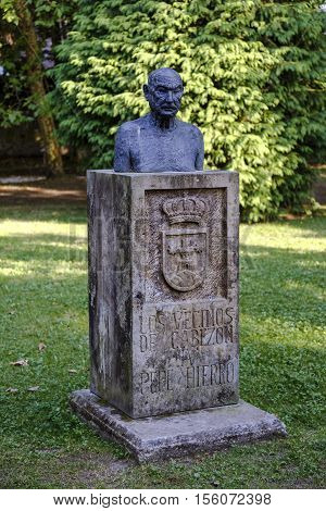 Cabezon De La Sal Spain - August 24 2016: Statue tribute to Pepe Hierro by the neighbors of Cabezon de la Sal in Cantabria Spain