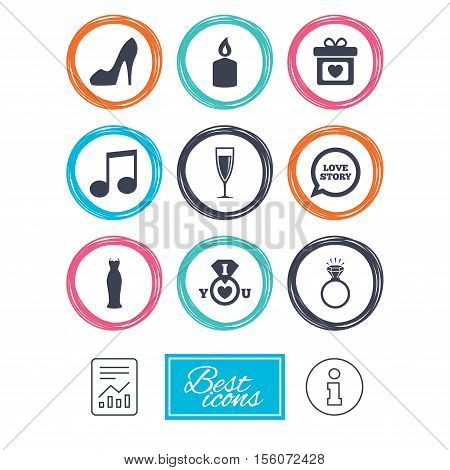 Wedding, engagement icons. Ring with diamond, gift box and music signs. Dress, shoes and champagne glass symbols. Report document, information icons. Vector