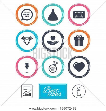 Wedding, engagement icons. Love oath letter, gift box and brilliant signs. Dress, heart and champagne glass symbols. Report document, information icons. Vector