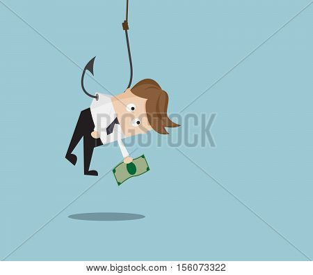 Businessman catch Money by Hanging with Fishing Hook Business Concept Cartoon Vector Illustration