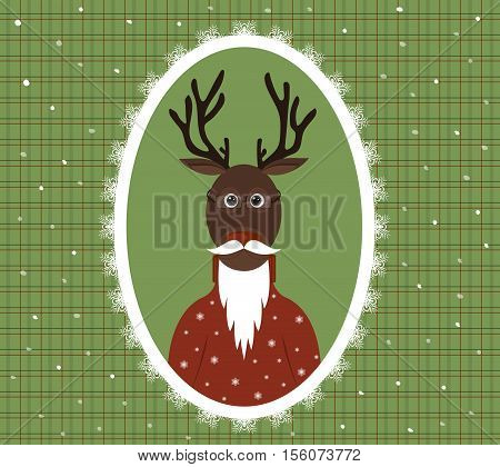 illustration of an elderly stag with a beard glasses and a cardigan in a patterned frame