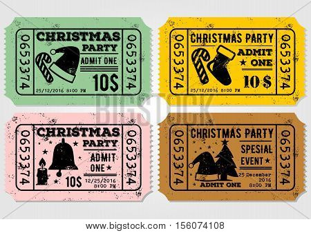 Vector set of Old paper ticket, admit one for Christmas Party