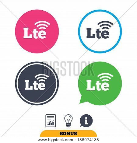 4G LTE sign icon. Long-Term evolution sign. Wireless communication technology symbol. Report document, information sign and light bulb icons. Vector