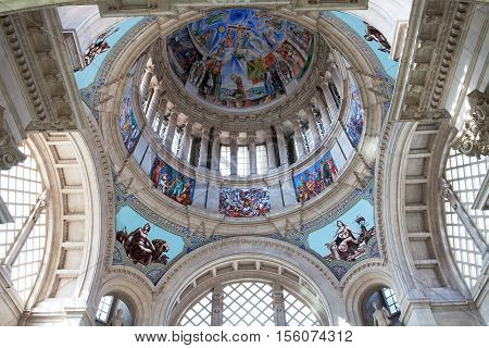 BARCELONA, SPAIN - SEP 13, 2016: The inside of the Main Dome towers above the Dome Hall of the National Museum of Art.