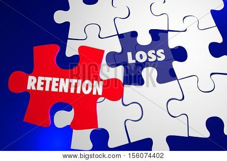Retention Vs Loss Puzzle Piece Hold Onto Keep 3d Illustration
