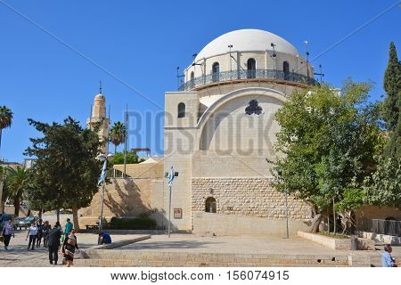 JERUSALEM ISRAEL 26 11 18: Orthodox Jews in front of The Ruin Synagogue (Hurva Synagogue) located in the Jewish Quarter