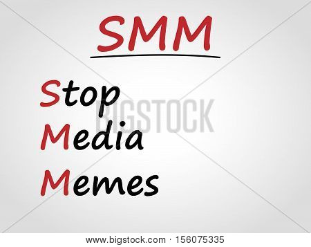 Stop media memes on gray background. SMM. Abbreviation.