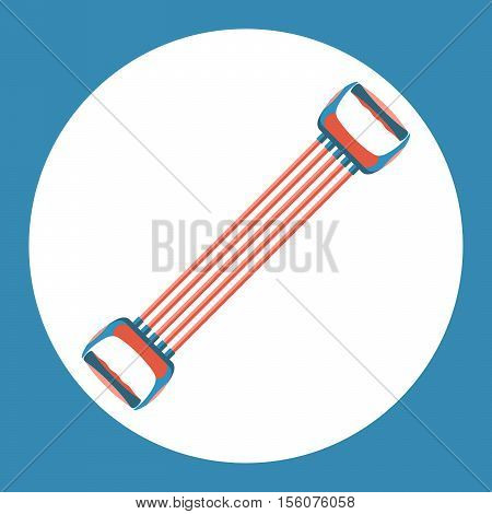 Sports expander icon. Color sports expander on a blue background. Sports Equipment. Vector Illustration