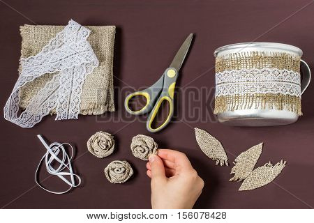 Burlap eco-decor. Homemade making of decor of burlap and lace for aluminum mug. DIY concept. Step by step photo instructions. Step 4. Making rose from burlap