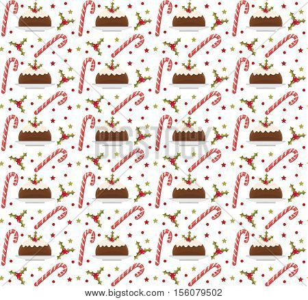 Christmas seamless background with holly candy cane and pudding. Christmas background. Christmas seamless texture wallpaper fabric. Vector illustration