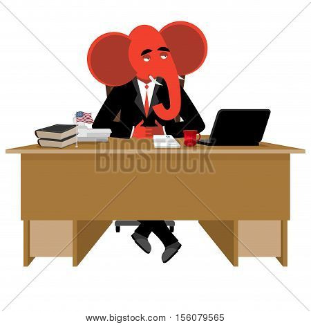 Red Elephant Republican Sitting In Office. Animal Boss At Table. Symbol Of United States Political P