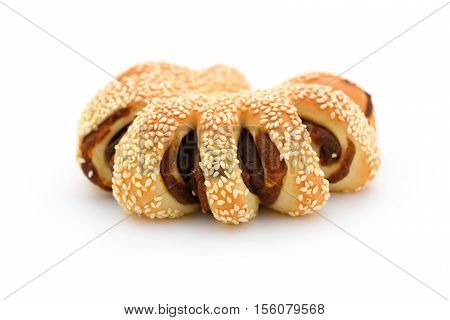 bread with BBQ beef on top on a white background
