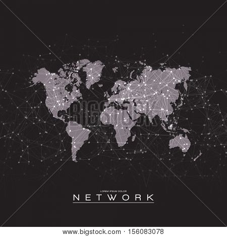 World Map with Abstract Mesh Vector Background