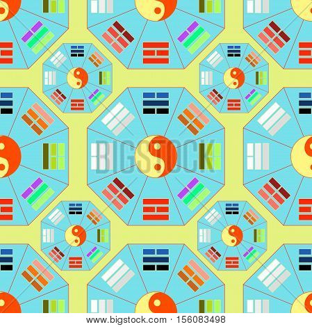 Seamless Pattern Square Chinese Feng Shui Bagua Blue. Vector Illustration