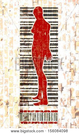 Bar code woman silhouette. Human trafficking text. Brick wall textured backdrop