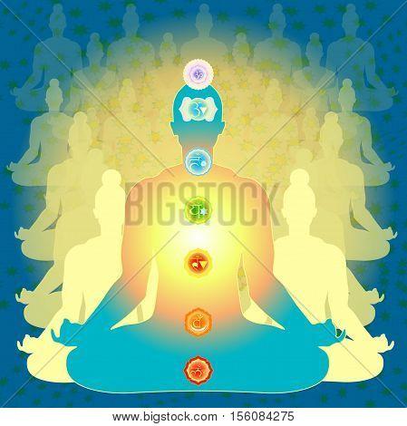 Man Sitting In Lotus Position Meditating With Chakra Vector Illustration