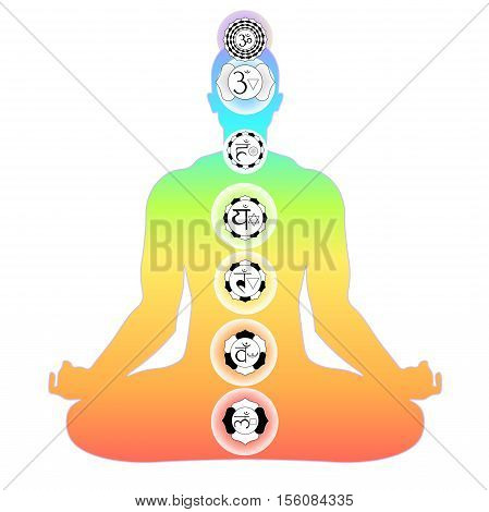 Man Sitting In Lotus Position Meditating With Chakra Vector Illustration