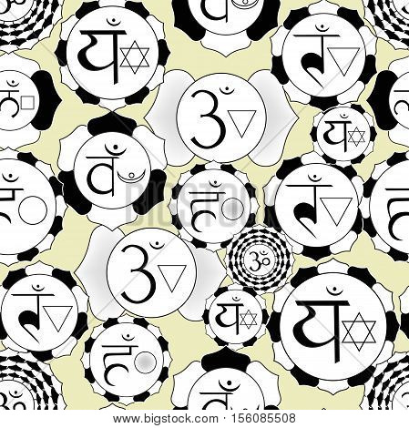 Indian Chakra Seamless Pattern Of Black And White Logo Vector Illustration