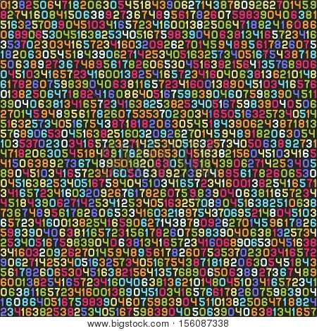Seamless Color Decimal Computer Code Background Wallpaper. Vector illustration