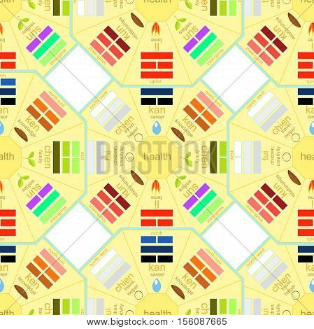 Seamless Pattern Square Chinese Feng Shui Bagua. Vector Illustration