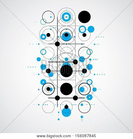 Bauhaus Art Composition, Decorative Modular Blue Vector Wallpaper With Circles And Grid. Retro Style