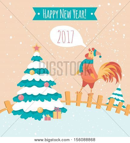 Rooster on the fence. Pastel colors. New year postcard. Peachy poster. Banner.