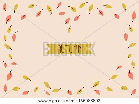 Autumn background with leaves. Peachy horizontal sale poster. Frame. Banner.