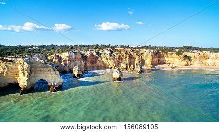 Aerial from Praia da Marinha in the Algarve Portugal