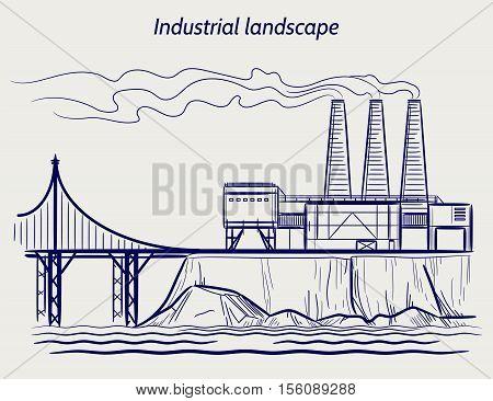 Ball pen sketch blue industrial landscape vector illustration