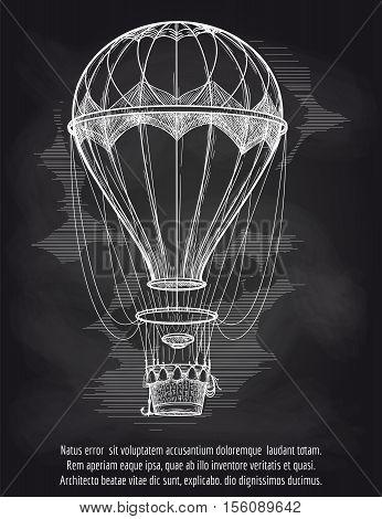 Sketch chalk hot air balloon on blackboard poster. Vector illustration