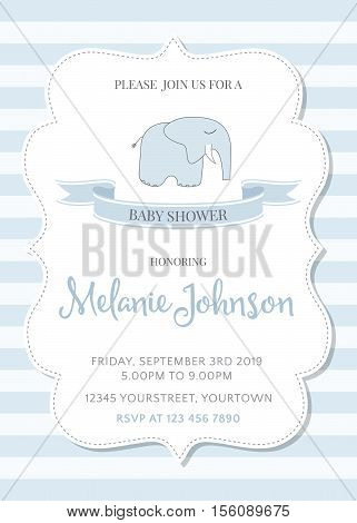 beautiful baby shower template. Customizable vector illustration