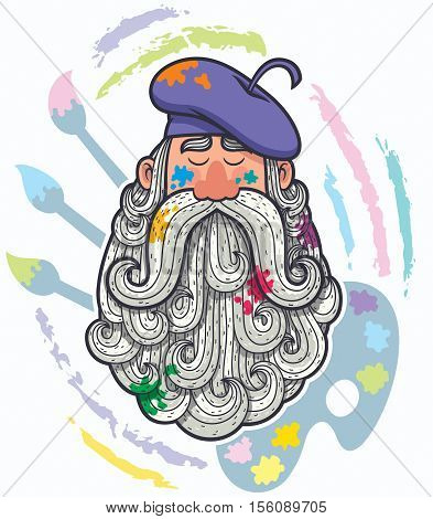 Cartoon portrait of painter with big beard.