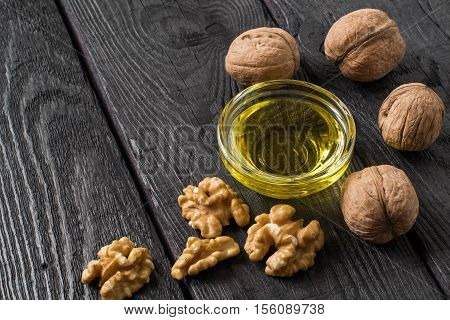 Walnuts in shell shelled walnuts and walnut oil. It is used in dietary and healthy nutrition. The source of vitamins and polyunsaturated fatty acids