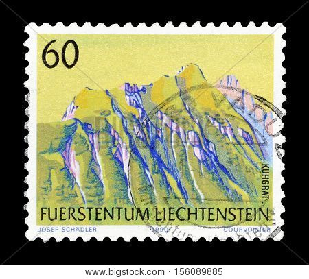 LIECHTENSTEIN - CIRCA 1990 : Cancelled postage stamp printed by Liechtenstein, that shows Kuhgrat mountain.