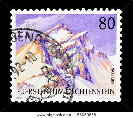 LIECHTENSTEIN - CIRCA 1990 : Cancelled postage stamp printed by Liechtenstein, that shows Maafkopf mountain.