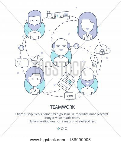 Web Page Design Template of Company Profile, Teamwork, Corporate Business Workflow, Career Opportunities, Team Skills, Management. Flat Layout Style, Line Business Concept, Vector Illustration