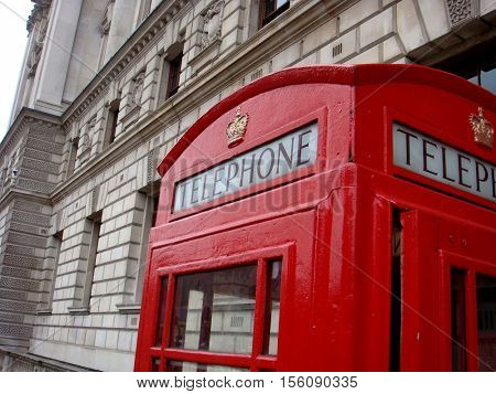 Traditional red London telephone call box, phone booth