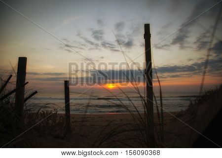Sunrise over the Atlantic ocean North Carolina