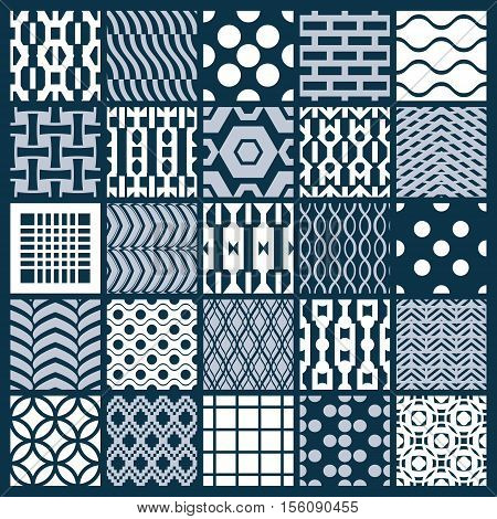 Set of vector endless geometric patterns composed with different figures like rhombuses squares and circles. Graphic ornamental tiles made in black and white colors. poster
