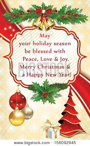 Elegant winter season greeting card for print for Christmas and New Year. Contains Christmas baubles, Christmas tree, snowflakes pattern and a nice Christmas greeting message. Print colors used