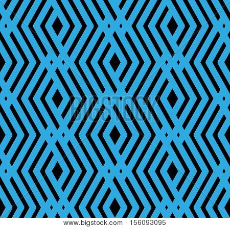 Blue textured endless pattern overlay continuous creative textile geometric motif background with rhombs.