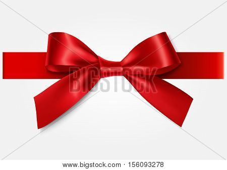 Red bow with horizontal ribbon. Vector illustraion