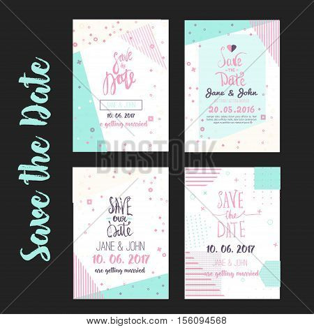 Geometry Save the Date card in modern 1980s with menu, Rsvp card. Wedding anniversary celebration party invitation design template.